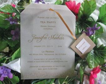 "Tea Party Bridal Shower vellum tea ""bag"" invitation hand made custom colors available"