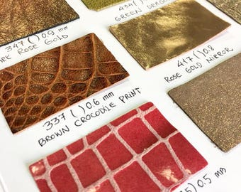 SWATCHES Leather Print, metallic leather swatches, genuine leather samples, sold per piece, leather fabric swatches, leather print pieces