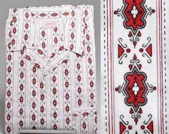 XS Deadstock 1950s Mens Pajamas Sanforized Cotton Red Stripe PJs Vintage 50s Blue Print Lounge Wear Loungewear Pyjamas