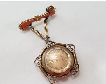ON SALE Vintage Watch Pin Brooch with Pendant Watch Movement and Case, Lonville - Steampunk, Altered Art, Assemblage, Jewelry Supplies