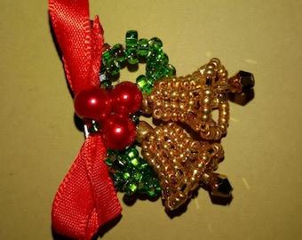 Christmas bells brooch.  Gold bells pin. Nice gift.