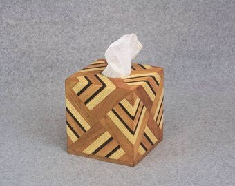 Tissue Box Cover - Handmade from Strips of Cherry, Ash and Walnut for Kleenex® or Puffs® - Great for Home or Office
