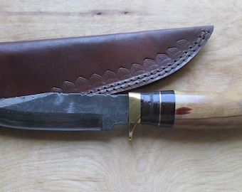 "Warren"" Hand Made Damascus Steel Bowie Knife, Walnut/ Maple Handle, SW17-6"