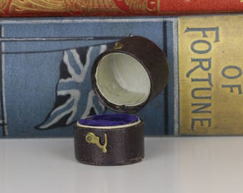 Antique Ring Box Rare Engagement or Wedding Ring Box with Deep Blue Interior