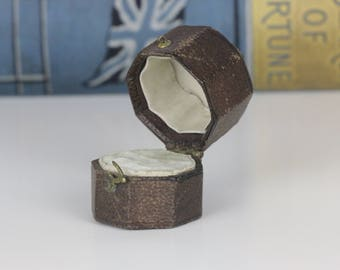 Antique Ring Box Octagonal Engagement or Wedding Ring Box