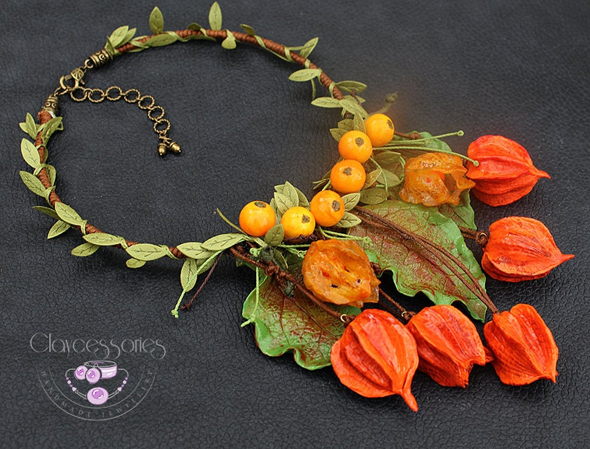 Autumn necklace / Physalis necklace / Fall Leaf necklace / Fruits necklace /Statement necklace / Bib necklace/Polymer clay jewellery/Boho