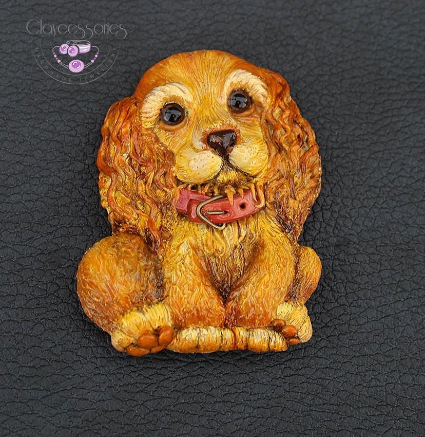 Dog pendant Dog brooch Dog pin  Animal necklace Statement pendant Animal brooch Dog jewellery Polymer clay jewellery New Year symbol
