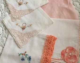 1940's Coral/Peach/Baby Pink Handkerchief Lot Vintage