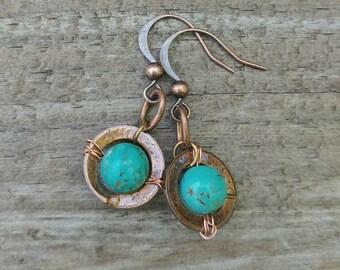 Saturn Copper Patina Earrings - Copper Earrings - Patina Jewelry
