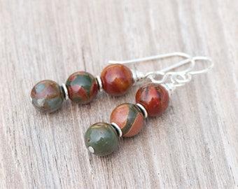 Red Creek Jasper Earrings, Rustic Earrings, Fall Colors, Natural Stone Earring, Sterling Silver Earrings, Rust Brown Earrings, Ombre Earring