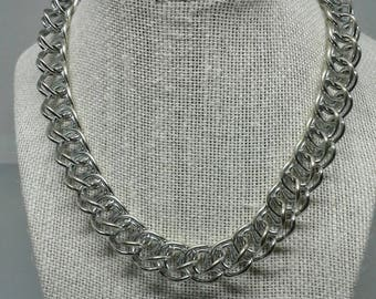 Vintage Anne Klein choker, chain necklace, silver plated