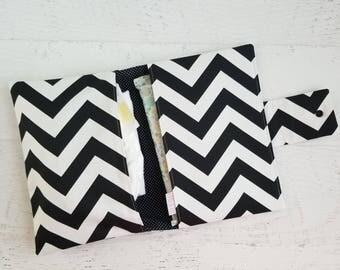 Chevron Diaper Clutch Bag | Monochrome Baby Gifts | Diaper Pouch | Small Diaper Bag | Black and White Diaper Bag | Diaper Bag Organizer