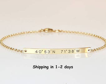 Engraved bracelet with coordinates,Reversible bracelet, Location Longitude Latitude bracelet 2 sides engraved, GPS Graduation gift for her,