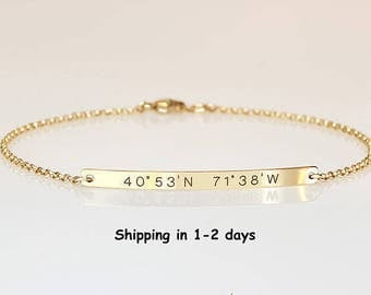 Graduation gift for her, Engraved bracelet with coordinates Reversible bracelet, Location Longitude Latitude bracelet 2 sides engraved, GPS
