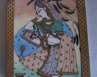 Vintage WOOD w BRASS & GEMSTONE Inlay Trinket Jewel Box Made in India with a Persian Princess Gorgeous!