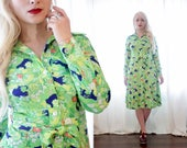Vintage 1970s novelty print button up shirt dress bright lime green jungle tropical black Jagwire cat print Ming Tree