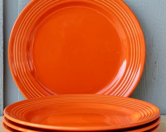 Vintage Large Orange Plates Retro Royal Norfolk dinner plates Vintage dinnerware Mid century modern dishes Mod & Mod orange plates   Etsy