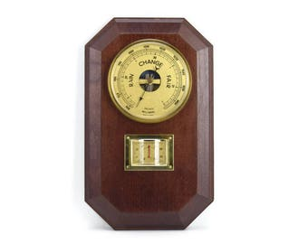 Vintage Barometer & Thermometer Weatherstation, Made in France, Cherry Wood Plaque, Brass Accents, Traditional Office or Home Decor