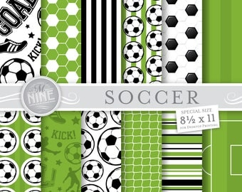 SOCCER Digital Paper / Soccer Printables / 8 1/2 x 11 Soccer Patterns, Sports Theme, Soccer Downloads, DIY Soccer Party Paper