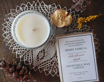 elderflower apple scented candle | fresh apple fall candle | natural soy coconut wax with essential oils, artisan fragrance