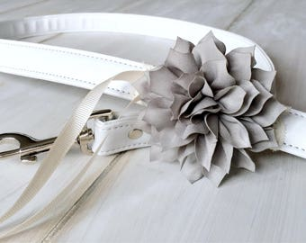 White Leather Wedding Dog Leash Gray Flowers and Lace White Leather Pet Leash Grey Flower Bloom Dog Wedding Outfit