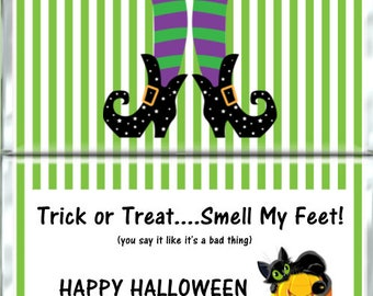 Halloween  Candy Bar Wrapper - Witches Feet Candy Bar Wrapper - Halloween Candy Bar Wrappers - Party Favors - PDF or Printed