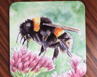 Bumblebee on clover coaster. Bumble bee clover flower. Watercolour bee.