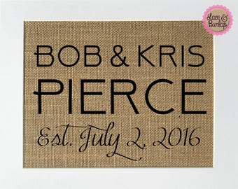 CUSTOM Wedding Sign - BURLAP SIGN 5x7 8x10 - Rustic Vintage/Wedding Decor/Love House Sign