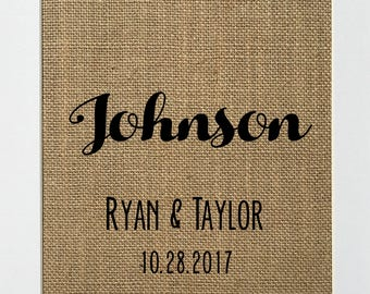 UNFRAMED Custom / Burlap Print Sign 5x7 8x10 / Rustic Vintage Country Shabby Wedding Sign Husband Wife Mr & Mrs Personalised sign print