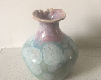Budding Lotus - Celadon and Dusky Pink Bud Vase, wheel thrown stoneware, hand painted with reactive glazes, unique studio ceramics