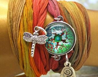Silk Wrap Bracelet, Pentagram Bracelet, Sari Bracelet, Yoga Jewelry, Wrap Bracelet, Blue Silk Bracelet, Sari Wrap Bracelet