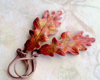 Rustic Oak Leaf Earrings, Hand Painted Earrings, Nature Lover's Jewelry, Oak Leaf Dangles, Realistic Leaf Earrings, Autumn Leaf Earrings
