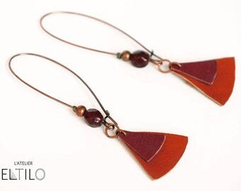Red and brown leather dangling earrings orange / / unique earring