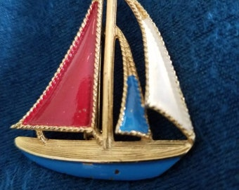 Vintage nautical pin...sailboat...red white and blue...goldtone