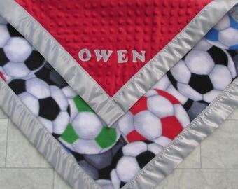 Soccer blanket/Soccer fleece blanket/Soccer minky blanket/Soccer satin edge blanket/boys toddler blanket/girls toddler blanket/baby blanket