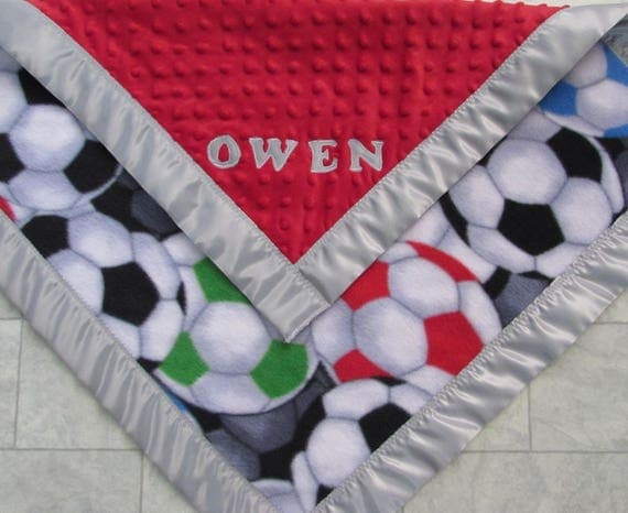 Soccer blanket/Soccer fleece blanket/Soccer minky blanket/Soccer satin edge blanket/boys toddler blanket/girls toddler blanket/baby blanket