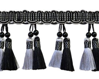 """Elegant 4"""" Beaded Tassel Fringe Style# Btfh4 - Black, Silver Grey Sgb (sold by The Yard)"""
