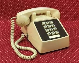 Vintage Comdial Push Button Telephone ~ Beige Desk Phone ~ Mad Men Tabletop Phone ~ Mid Century Décor ~ Retro ~ Mid Century Office