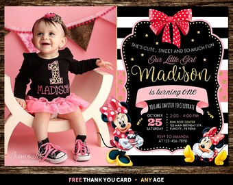 Minnie Mouse Invitation Pink And Gold, Minnie Mouse Birthday Invitation with Picture, Minnie Mouse Invitation 1st Birthday, Minnie Mouse