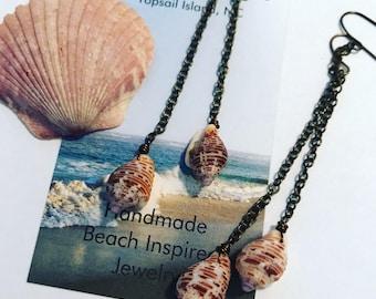 Shell Earrings - Bronze Dangle Earrings - Beach Jewelry