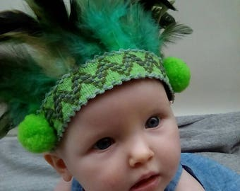 Baby feather headdress headband