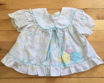 Vintage 1980s Baby Infant Girls Pastel Fish Lace Dress! Size 3-6 months
