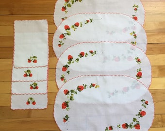Vintage 1970s Hand Painted Strawberry Placemats Napkins Set!