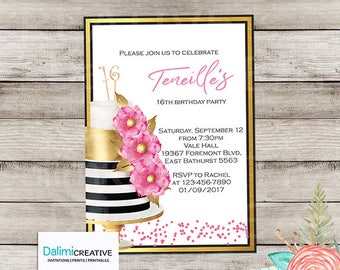 16th Birthday Invitation - 18th Birthday Invitation - 21st Birthday Invitation - Pink and Gold Invitation - Printable Invitation!