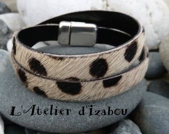 Beaded double strand Tan Leather-haired way black Dalmatian polka