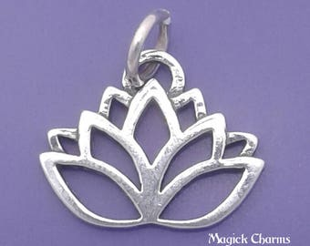 LOTUS FLOWER Charm .925 Sterling Silver, Yoga, Meditation Pendant - f5332