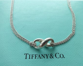 "Authentic Tiffany & Co. Sterling Silver Infinity Figure 8 Double Chain Necklace, 16"" Long"