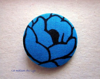 36mm fabric covered button turquoise blue and black, large vintage flower