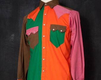 VINTAGE 1970s multi colour shirt
