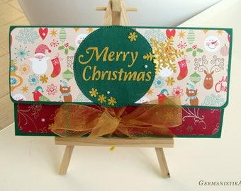 Merry Christmas money envelope, Money holder, Mens Christmas cash gifting, Holiday envelope, Gift card envelope, Christmas mens gift